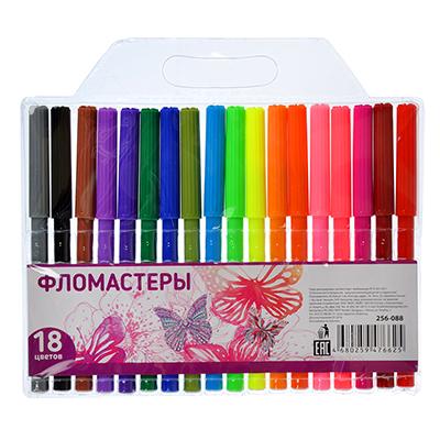 256-088 Набор фломастеров, 18 цветов, с цветным колпачком, КРЫЛАТЫЕ ЦВЕТЫ-2