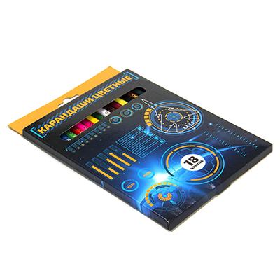 228-040 Цветные карандаши, 18 цветов, заточенные, ЗВЕЗДНЫЙ ДЕСАНТ