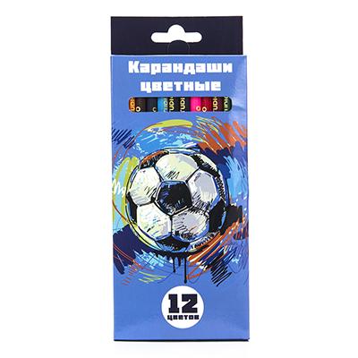 228-047 Цветные карандаши, 12 цветов, заточенные, ДЖУНИОР ФУТБОЛ