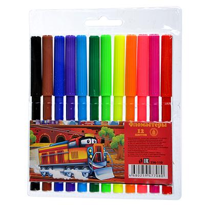 256-110 ТЕПЛОВОЗИК Фломастеры 12 цветов с цветным вентилируемым колпачком, 13,6х8,5мм, в ПВХ пенале с подв.