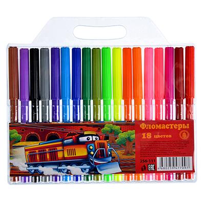 256-111 ТЕПЛОВОЗИК Фломастеры 18 цветов с цветным вентилируемым колпачком, 13,6х8,5мм, в ПВХ пенале с подв.