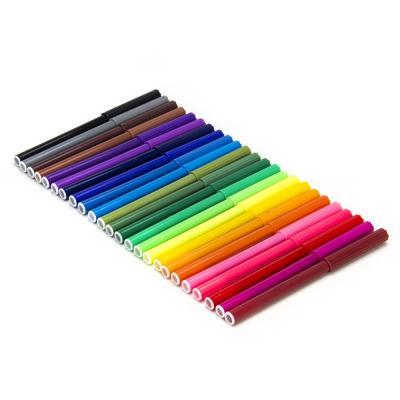 256-112 ТЕПЛОВОЗИК Фломастеры 24 цвета с цветным вентилируемым колпачком, 13,6х8,5мм, в ПВХ пенале с подв.