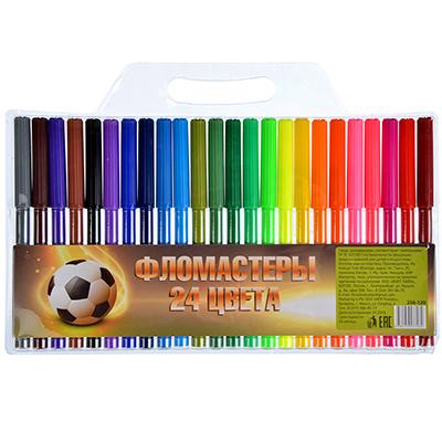 256-120 Набор фломастеров, 24 цвета, с цветным колпачком, СПЕЙС ФУТБОЛ