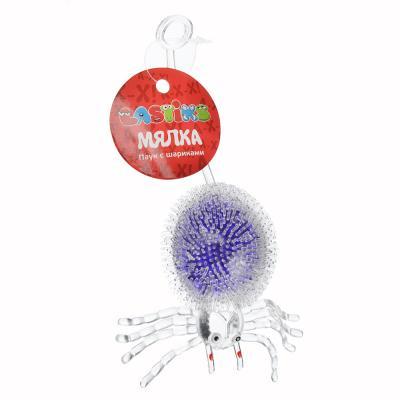 297-024 Мялка в виде Паука с шариками, резина, 5х8х4см, 4-6 цветов