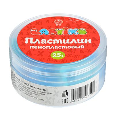 218-016 Пенопластовый пластилин, 25г , полимер, 9х9х4,5см, 6 цветов