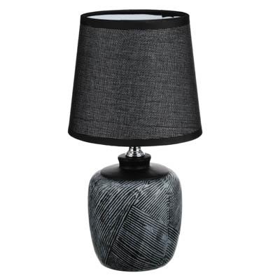 417-104 Лампа настольная, 25 см, шнур 100 см, E14, 220ВТ, 40 В, Керамика, текстиль, 3 цвета