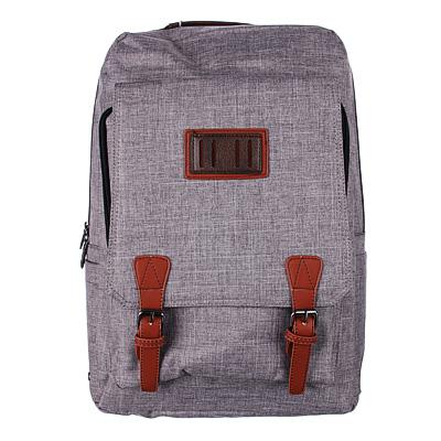 254-144 Рюкзак подростковый, 42x28x17см, клапан на 2 кнопках, накладной карман, серый