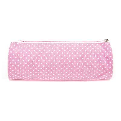 """238-035 Школьный пенал для девочки, 21х7х7см, цилиндр, текстильный """"под флис"""", розовый"""