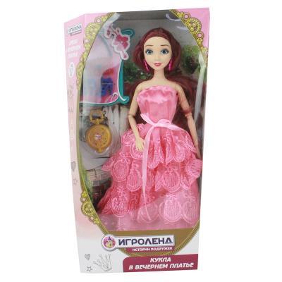 267-723 ИГРОЛЕНД Кукла шарнирная в нарядном платье, 30см, пластик, полиэстер, 6 дизайнов
