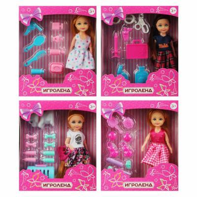 267-731 ИГРОЛЕНД Кукла в виде малышки с аксессуарами, пластик, полиэстер 25х19, 5х10см, 4 дизайна