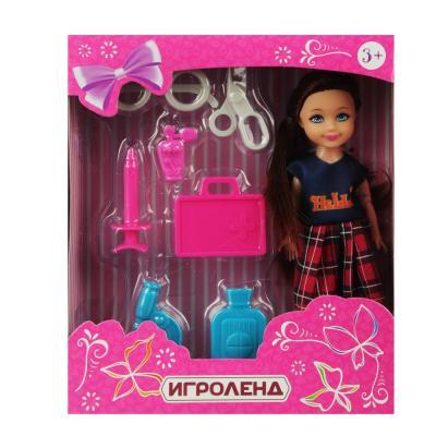 267-731 ИГРОЛЕНД Кукла в виде малышки с аксессуарами, PVC, полиэстер 25х19, 5х10см, 4 дизайна
