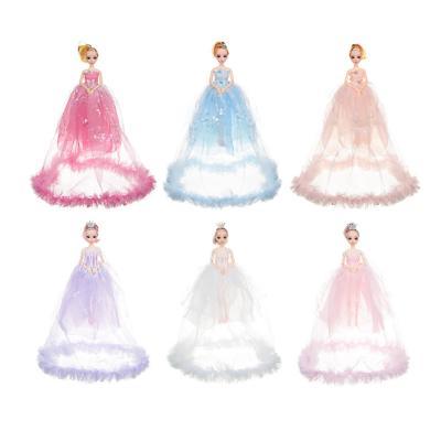 267-742 Кукла в пышном платье, 30см, пластик, полиэстер, 2 дизайна, 5-8 цветов