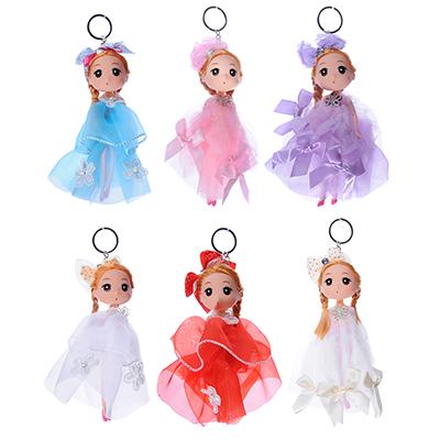 267-743 Кукла-брелок в пышном наряде, 15-18см, пластик, полиэстер, 2-4 дизайна, 3-6 цветов