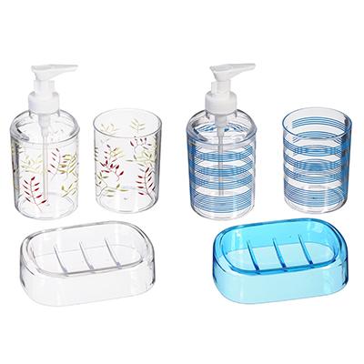048-002 SonWelle Набор для ванной, 3 предмета, прозрачный с рисунком, 2 дизайна, пластик