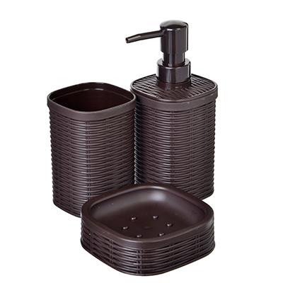 """048-003 Набор для ванной, 3 предмета, пластик, коричневый, SonWelle """"Ротанг"""""""