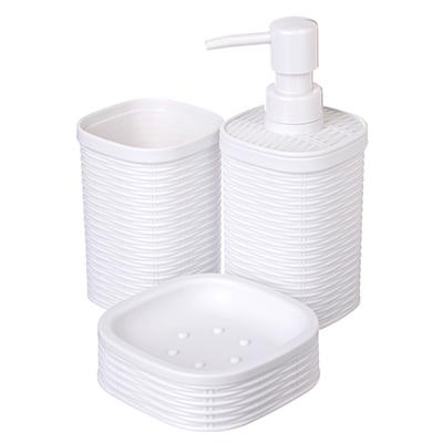 """048-004 Набор для ванной, 3 предмета, пластик, белый, SonWelle """"Ротанг"""""""