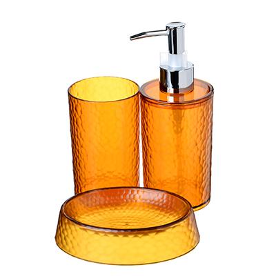 048-006 SonWelle Набор для ванной ЯНТАРЬ, 3 предмета, рыжий, пластик