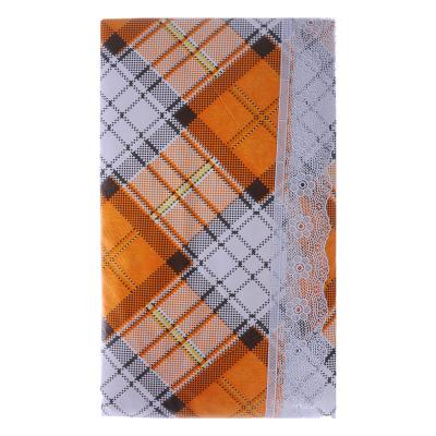 479-223 VETTA Скатерть виниловая тиснёная с каймой, 110х140см, клетка оранж