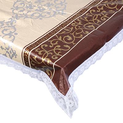 479-225 VETTA Скатерть виниловая с ажурной каймой, 120x152см, полосы престиж