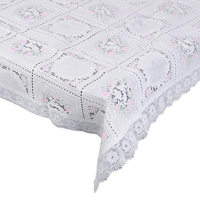 479-239 VETTA Скатерть ажурная 140x228см резная розовый цветок