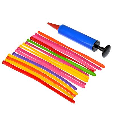 518-040 Набор воздушных шаров для моделирования с насоом 15 шт, пластик