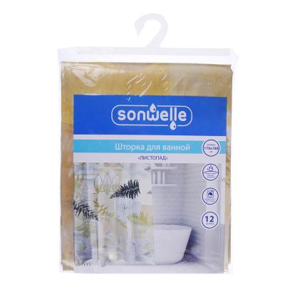 019-004 SonWelle Шторка для ванной, полиэстер, 170х180см, ЛИСТОПАД