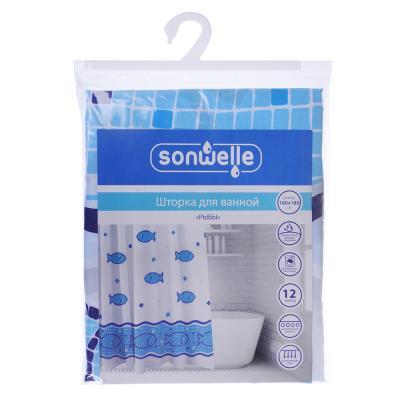 019-005 SonWelle Шторка для ванной, полиэстер, 180х180см, с утяжелителем, РЫБЫ