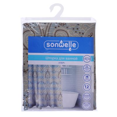 019-007 SonWelle Шторка для ванной, полиэстер, 180х180см, с утяжелителем, УЗОР