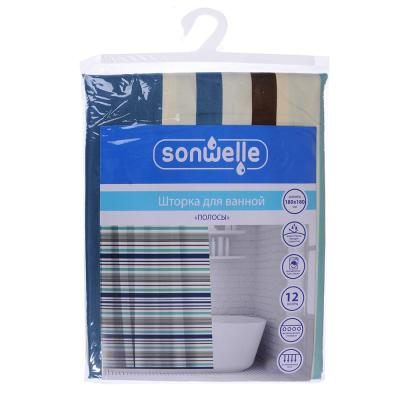 019-013 SonWelle Шторка для ванной, полиэстер, 180х180см, с утяжелителем, ПОЛОСЫ