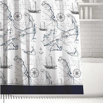 019-015 SonWelle Шторка для ванной, полиэстер, 180х180см, с утяжелителем, МОРСКОЙ БРИЗ
