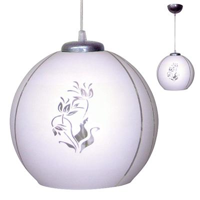 417-127 Светильник подвесной Крокус сфера, 25,5х25,5х26см, 60Вт, Е27,белый матовый /шнур проз., стекло