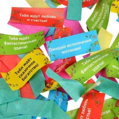 399-063 Хлопушка пневматическая, бумага, металл, 40 см, наполнитель бумага пожелания и конфетти, дизайн 10