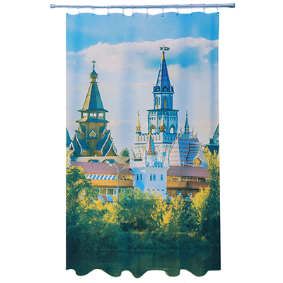 461-478 VETTA Шторка для ванной, ткань полиэстер с утяжелит, 180x180см, фотопечать эконом, Кремль