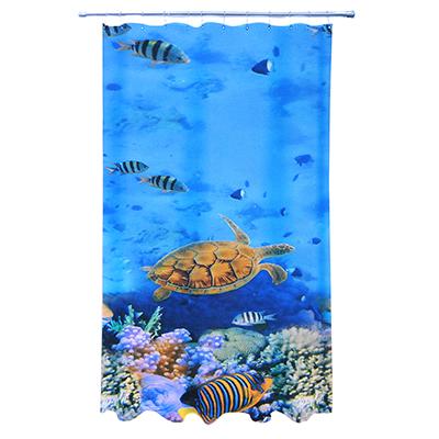 461-480 VETTA Шторка для ванной, ткань полиэстер с утяжелит, 180x180см, фотопечать эконом, Подводный мир