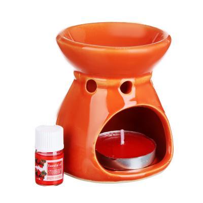 412-003 LADECOR Ароманабор (лампа+масло+свеча) керамика, 12х10х6,7 см, 3 вида