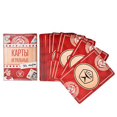 538-084 Карты игральные Наша ностальгия , с пластиковым покрытием, 36шт, 6,3х8,8см, бумага, арт 1, Дизайн
