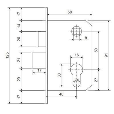 611-184 Замок врезной 0823/60, ключ-ключ, м/о 50 мм, медь/золото