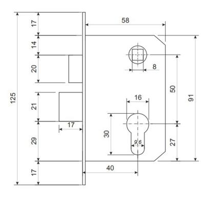 611-185 Замок врезной 0823/60, ключ-ключ, м/о 50 мм, бронза/золто