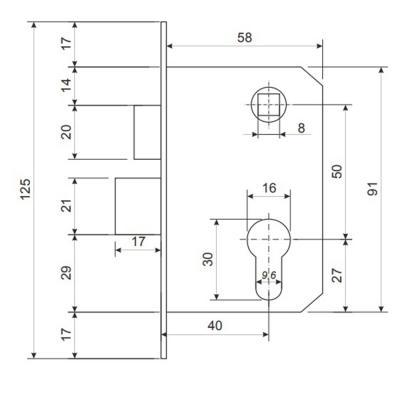 611-186 Замок врезной 0827/60, ключ-ключ, м/о 50 мм, медь/золото