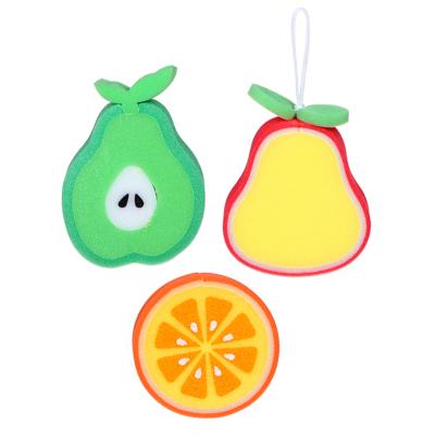 361-117 Мочалка детская в виде апельсина 12х3см/груши 14х12х3см, 2 дизайна