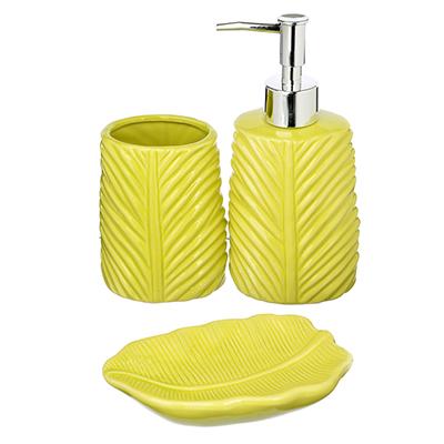 """048-008 Набор для ванной, 3 предмета, керамика, зеленый, SonWelle """"Лист"""""""
