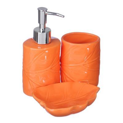"""048-009 Набор для ванной, 3 предмета, керамика, голубой, SonWelle """"Лист"""""""