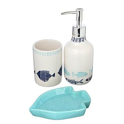 "048-010 Набор для ванной, керамика, 3 предмета, SonWelle ""Рыбки"""