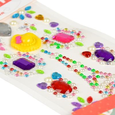 283-080 Узор из страз самоклеящихся для декорирования, пластик, 10х23х0,5см, 6-10 цветов