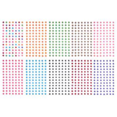 283-081 Стразы самоклеящиеся для декорирования, пластик, 10х20-30х0,5см, 4-12 цветов