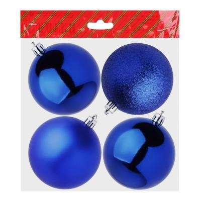 372-366 Елочные шары набор СНОУ БУМ 4 шт, 8см, пластик, в пакете, ассортимент цветов