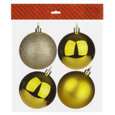 372-382 Елочные шары набор СНОУ БУМ 4 шт, 8см, пластик, в пакете, золотой: глянец, матовый, глиттер