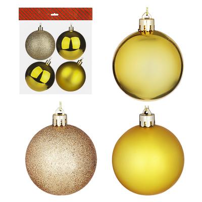 372-382 СНОУ БУМ Набор шаров 4 шт, 8см, пластик, в пакете, золотой: глянец, матовый, глиттер