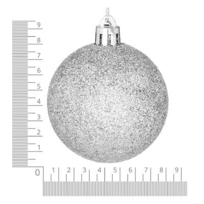 372-383 Елочные шары набор СНОУ БУМ 4 шт, 8см, пластик, в пакете, серебряный: глянец, матовый, глиттер