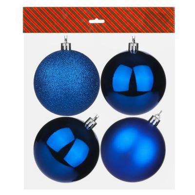 372-384 Елочные шары набор СНОУ БУМ 4 шт, 8см, пластик, в пакете, синий: глянец, матовый, глиттер